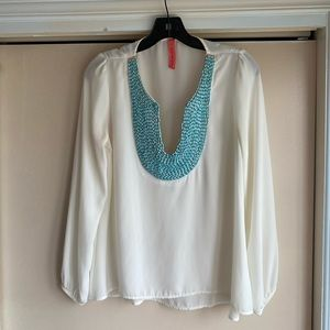 Eight Sixty Turquoise Bead Blouse Size Small